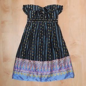 Betsey Johnson Strapless 100% Silk Dress
